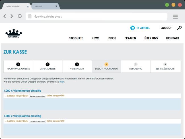 Screenshot der Datenupload-Seite