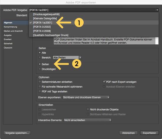 PDF Exporteinstellungen für optimalen Druck